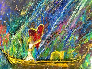 Shows a painting of a girl catching a heart from heaven